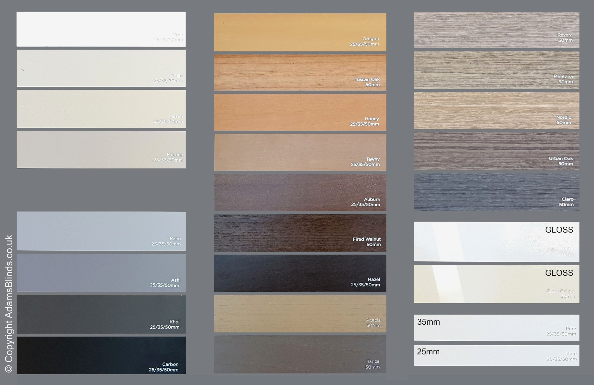 Wood Venetian Blinds Slat Colours