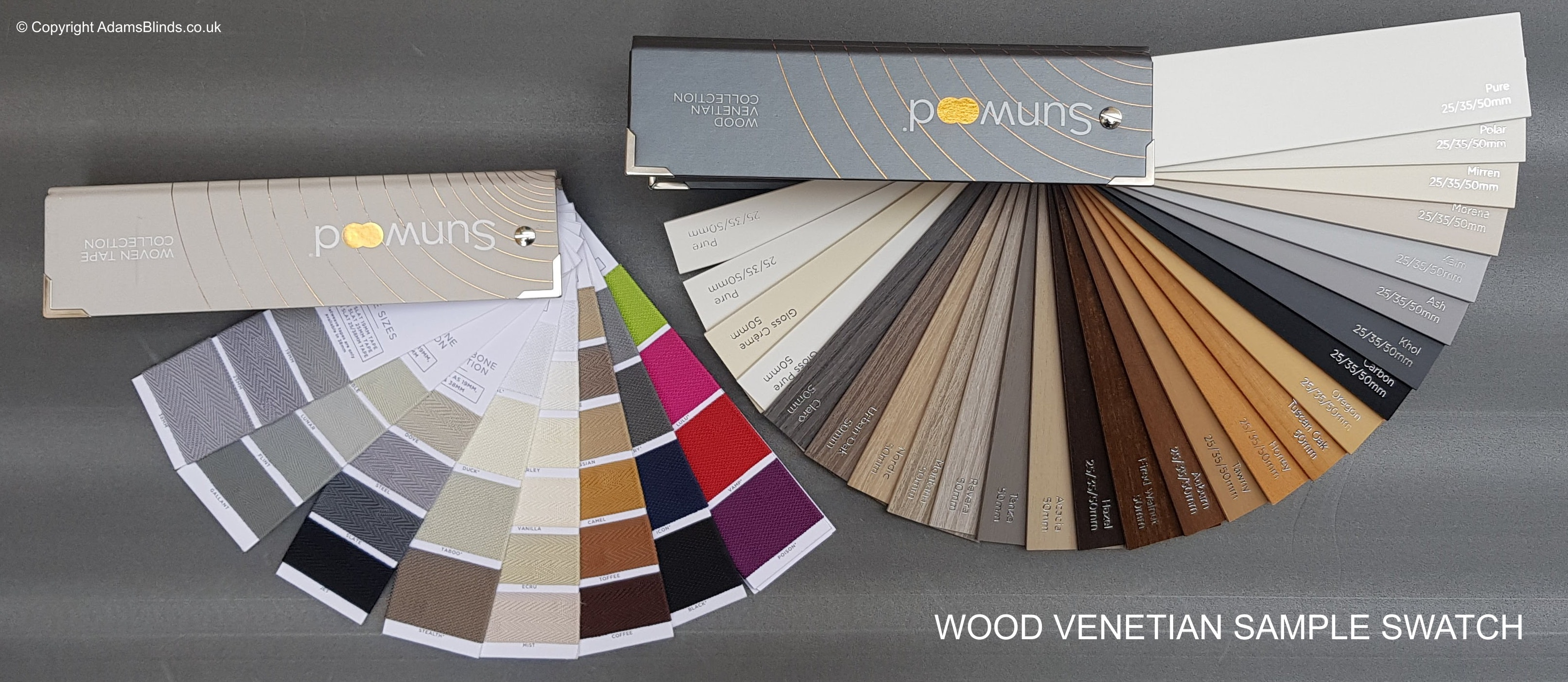Sunwood Wood Venetian Blinds Sample Swatch - Colour Chart